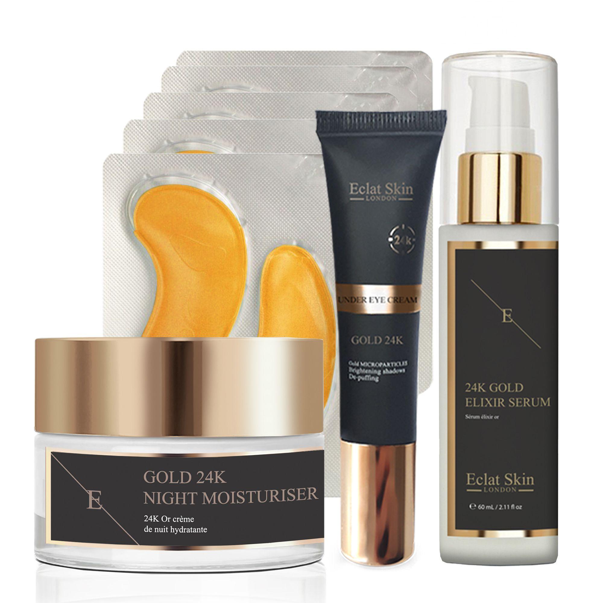 Anti-Wrinkle Elixir Serum 24K Gold + Anti-Wrinkle Night Moisturiser 24K Gold + Under Eye Cream 24K Gold + Collagen Gold Under Eye Patch 24K Gold - 5 x 2 Pads