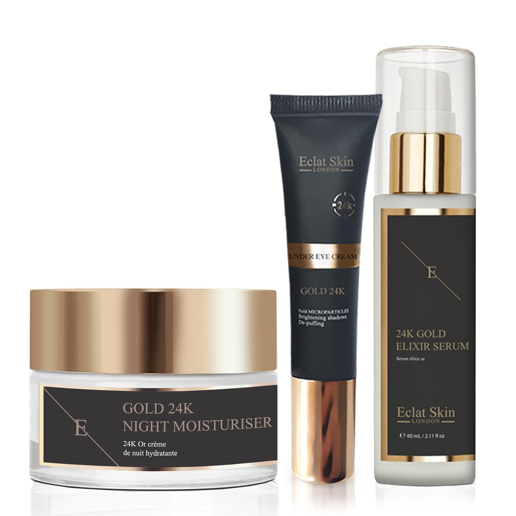 Anti-Wrinkle Elixir Serum 24K + Anti-Wrinkle Night Moisturiser 24K Gold + Under Eye Cream 24K Gold