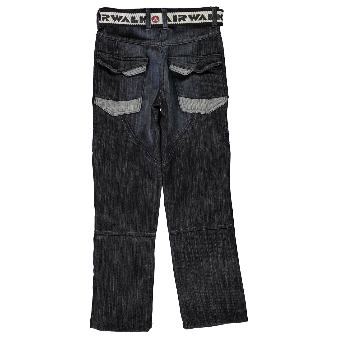 Airwalk Boys Belted Cargo Jeans Trousers Bottoms Pants Junior 6 Pockets