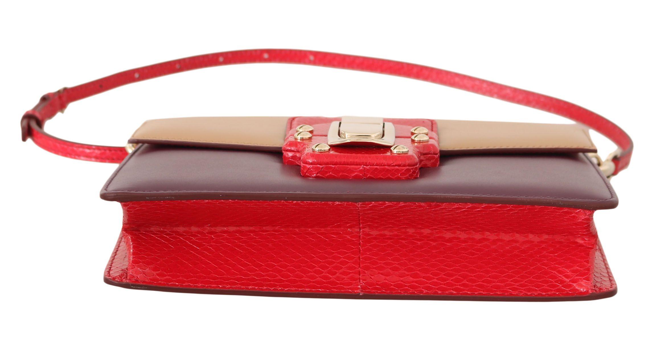 Dolce & Gabbana Purple Beige Red Leather Crossbody LUCIA Purse