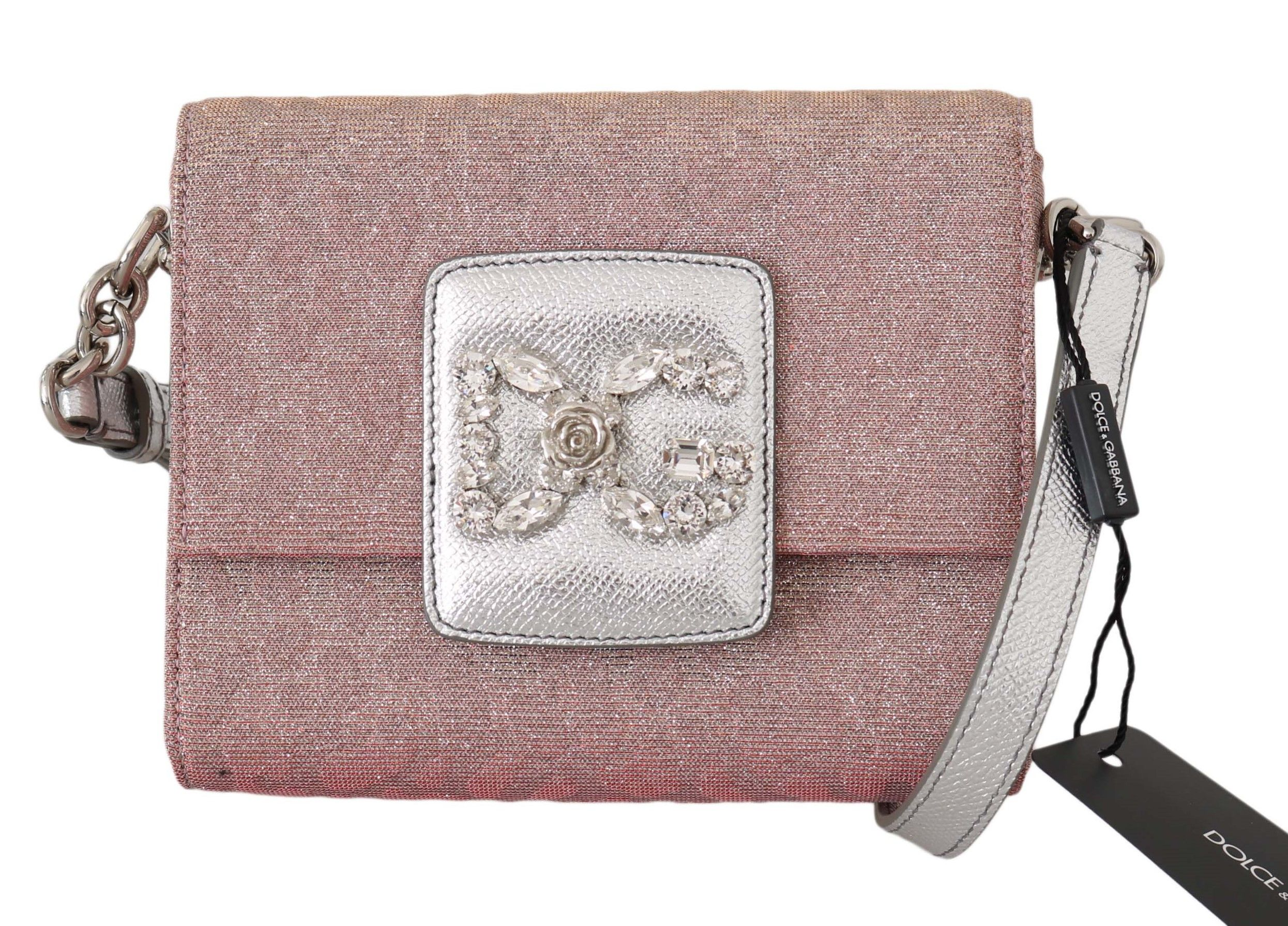 Dolce & Gabbana Pink Jacquard Crystal Millennials Shoulder Purse