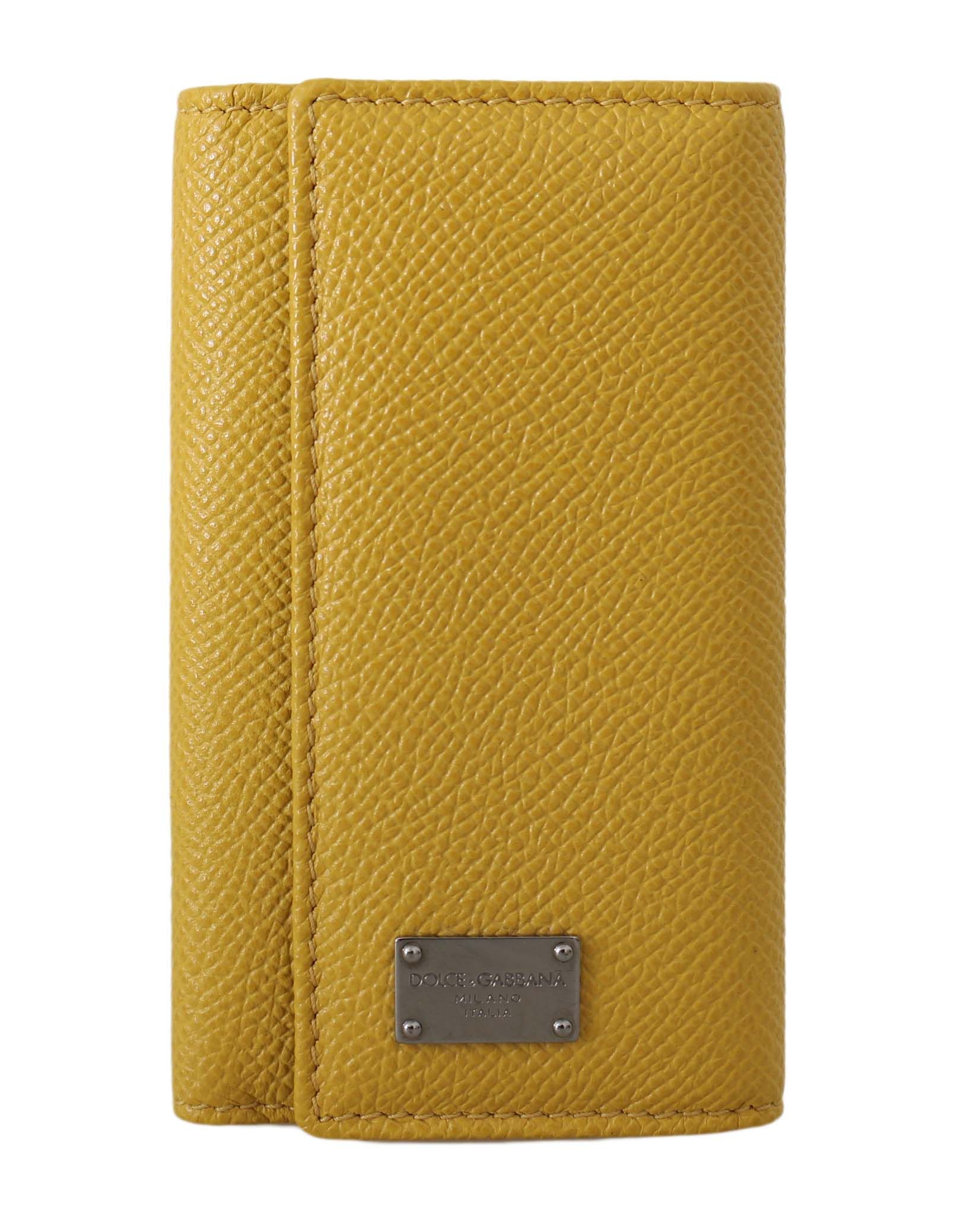 Dolce & Gabbana Yellow Leather Wallet Case Mens Finder Chain Keyring