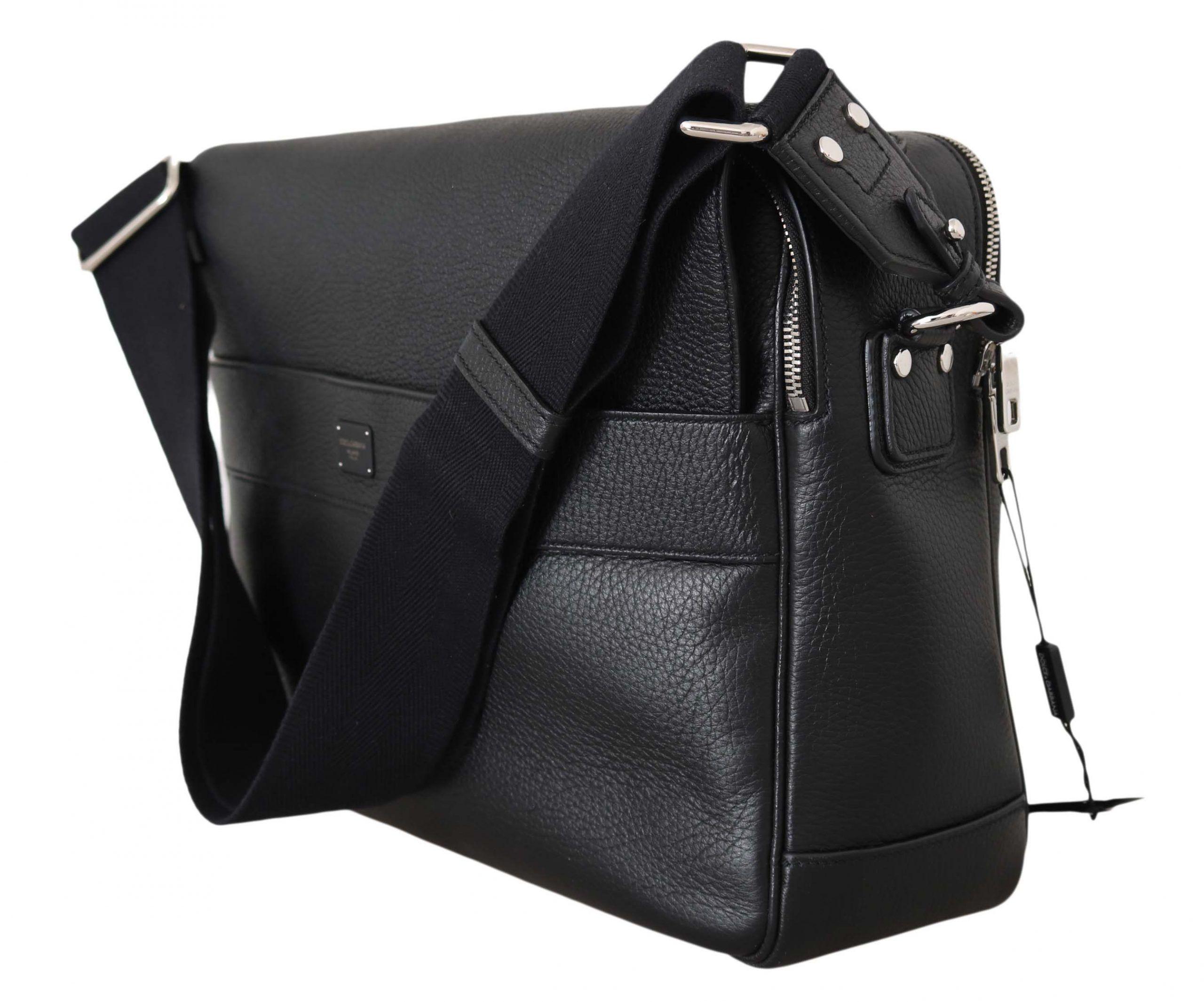 Dolce & Gabbana Black Leather Cross Body Messenger Travel School Bag