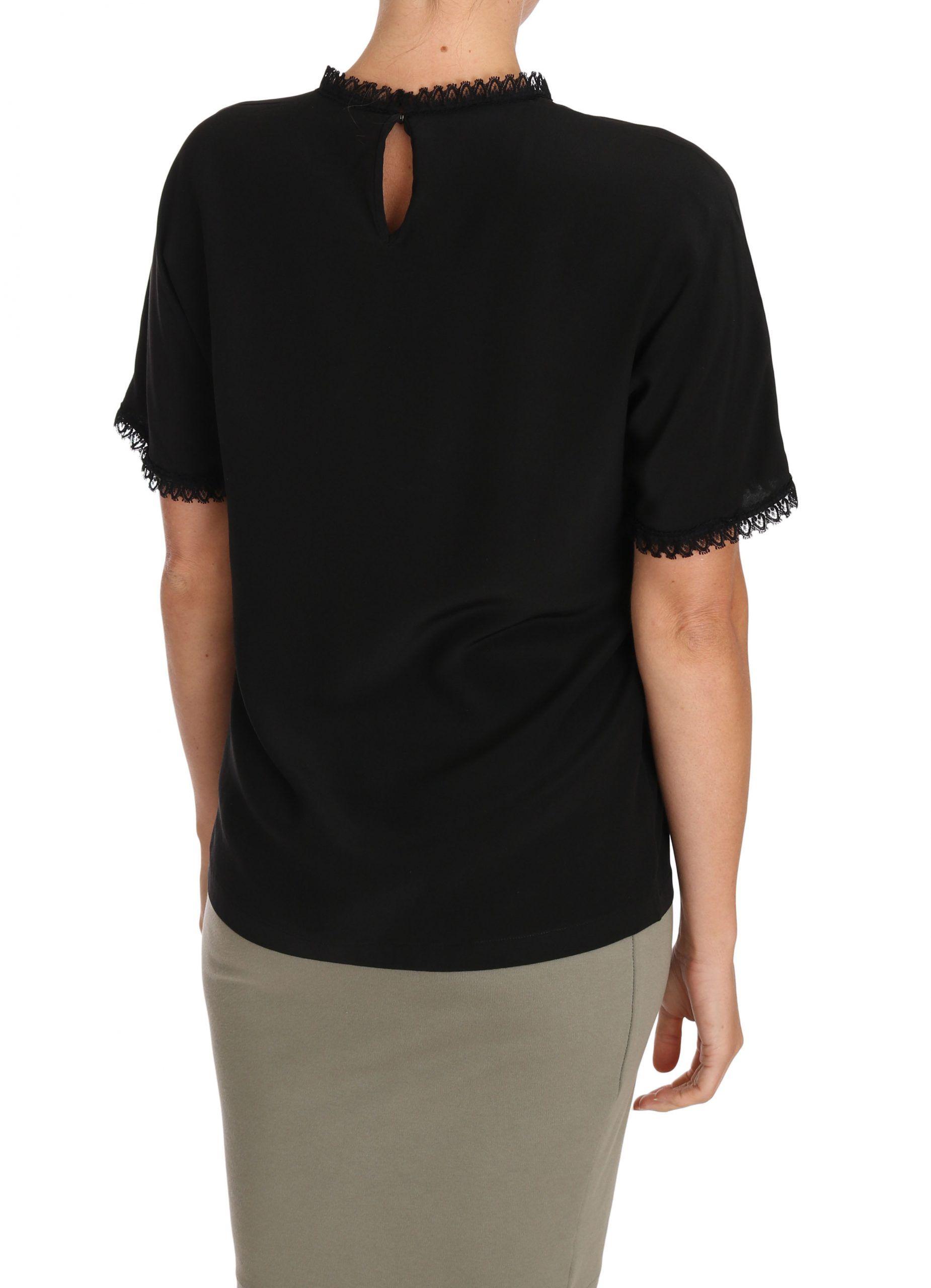 Dolce & Gabbana Black Silk Lace Top Blouse T-Shirt