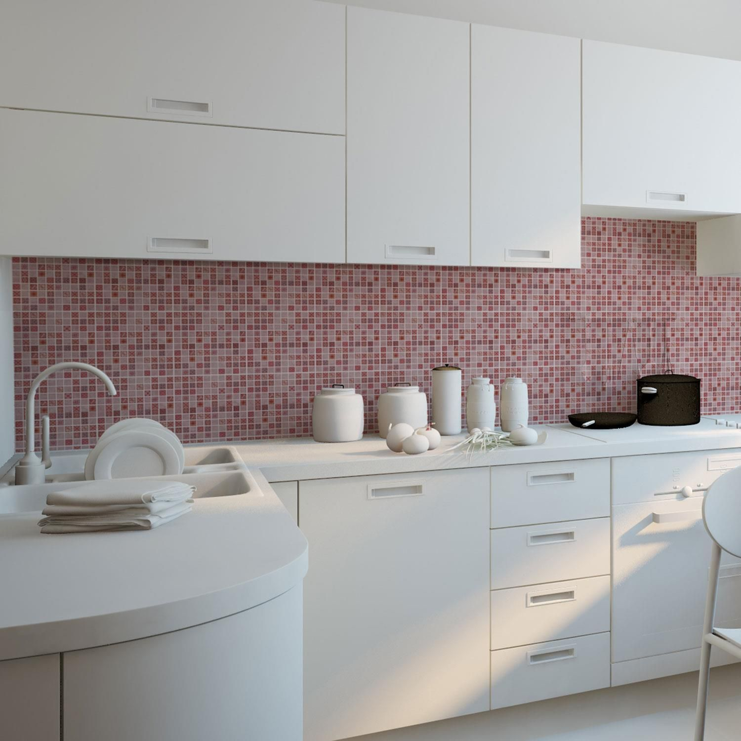 Pink Marble Vintage Azulejo Mosaic Wall Tile Sticker Set - 15cm (6inch) - 24pcs one pack Self Adhesive DIY Wall Sticker