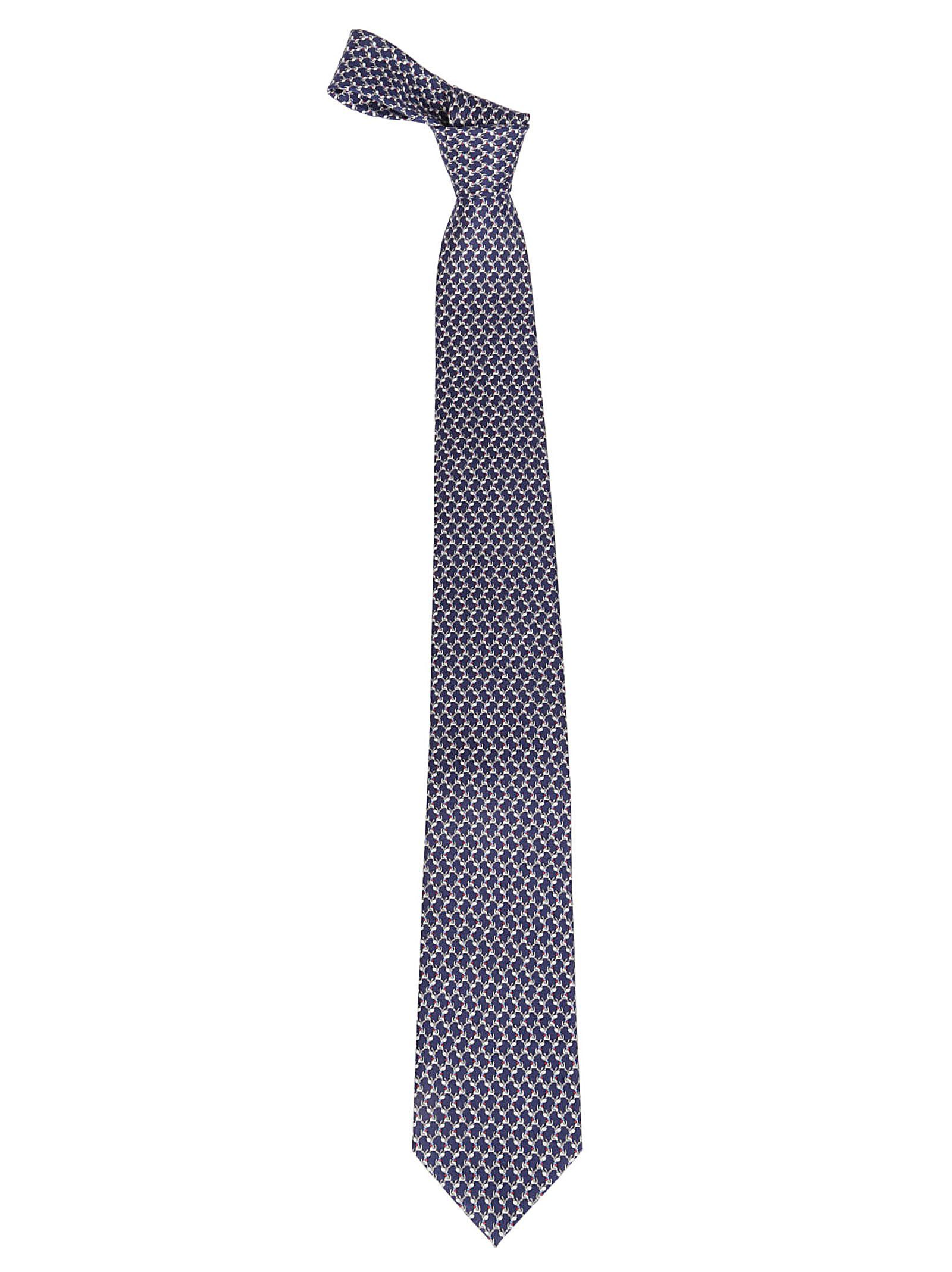 SALVATORE FERRAGAMO MEN'S 0719234 BLUE SILK TIE