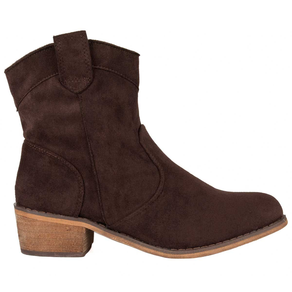Montevita Flat Western Ankle Boot in Brown