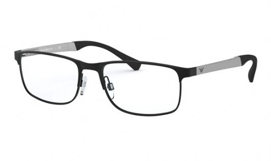 Emporio Armani Rectangular metal Men Eyeglasses Shiny Black / Clear Lens