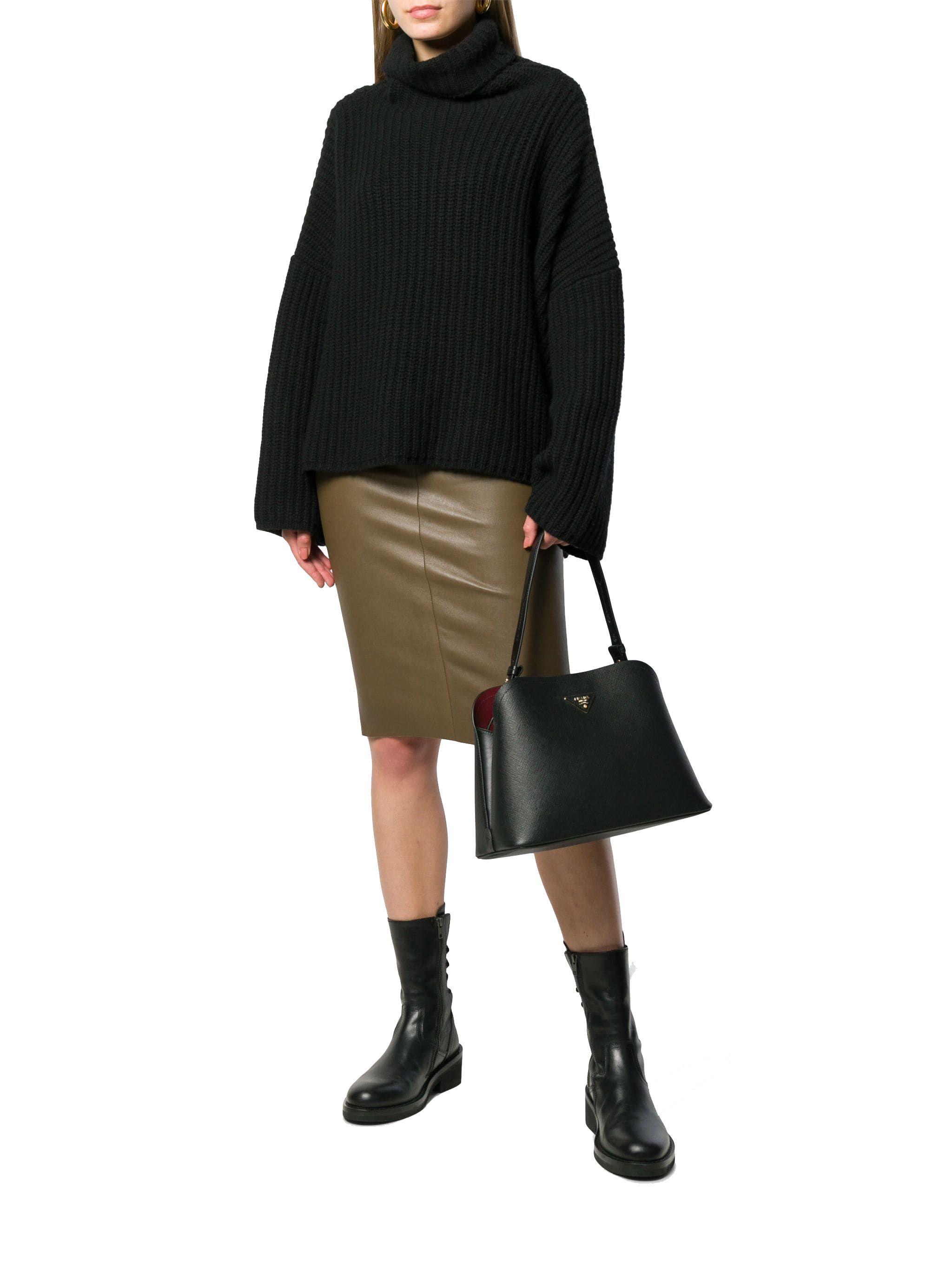 PRADA WOMEN'S 1BA251VOOO2ERXF0ME5 BLACK LEATHER SHOULDER BAG