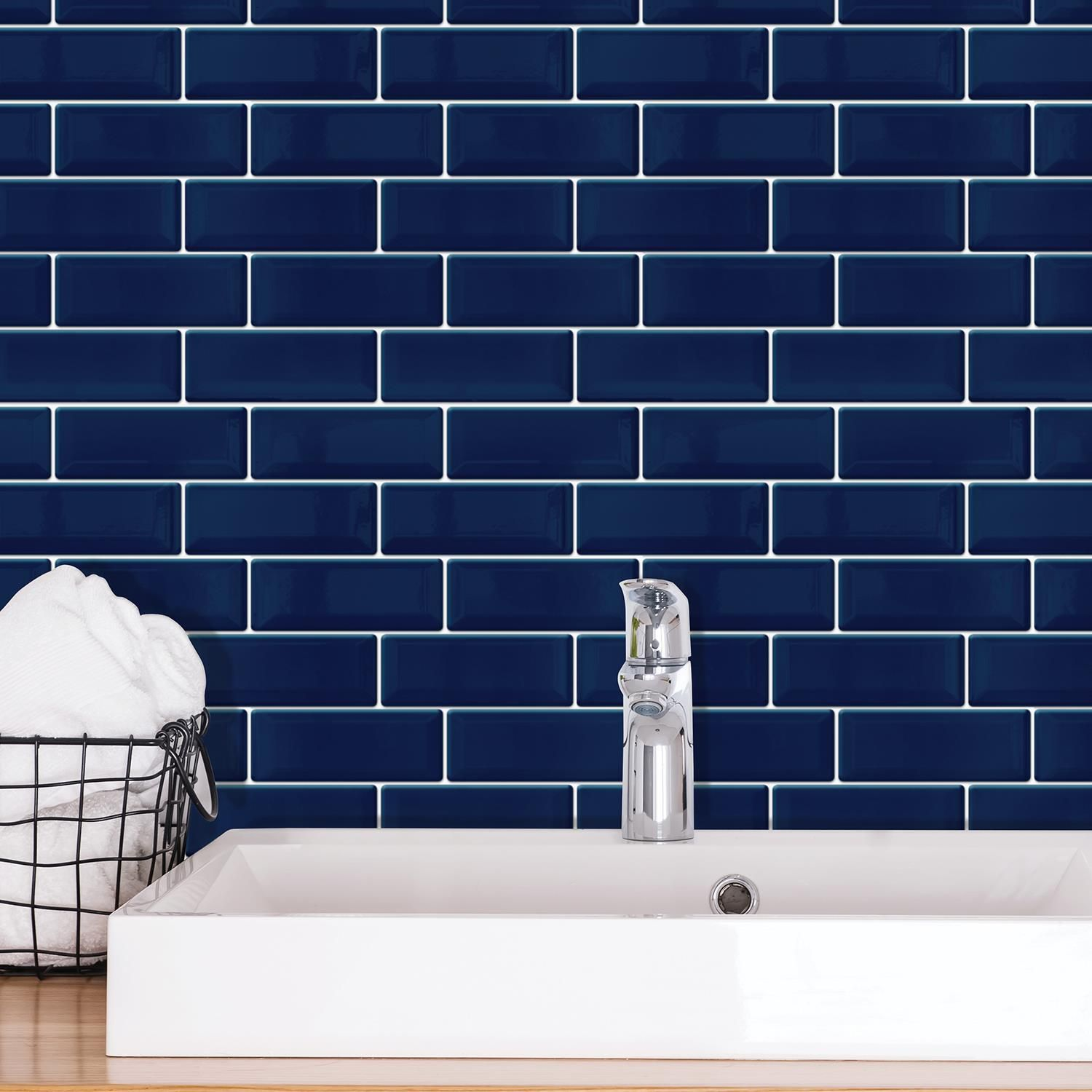 Deep Blue Glossy 3D Sticker Tile 30 x 15cm - 12 pcs 3D Tiles Wall Stickers, Kitchen, Bathroom, Living room, peel and stick