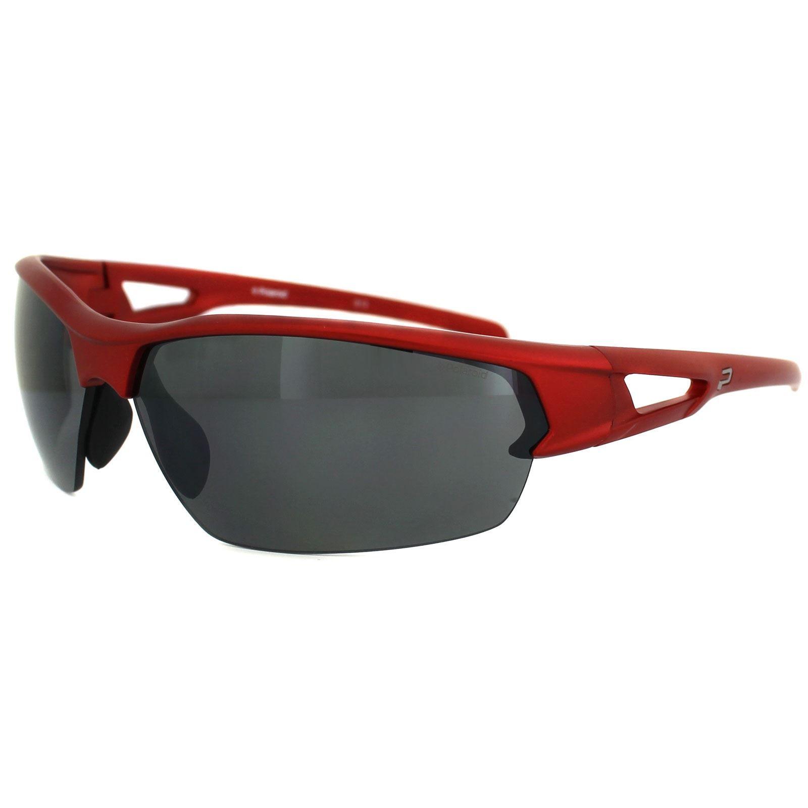 Polaroid Sport Sunglasses P7329 33W JB Shiny Red Grey Silver Mirror Polarized