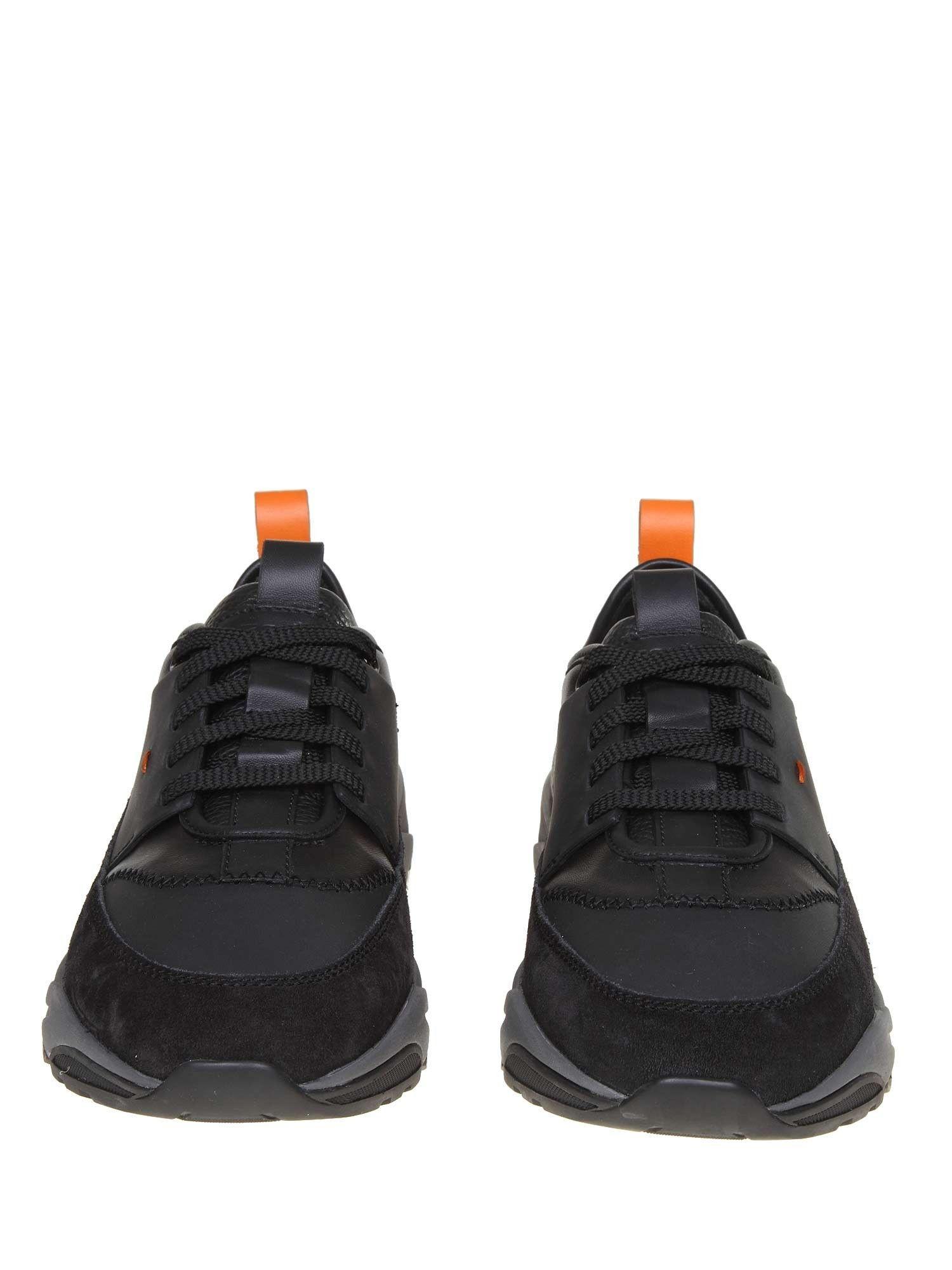 SANTONI MEN'S MBI021204ANERRSEN55 BLACK LEATHER SNEAKERS