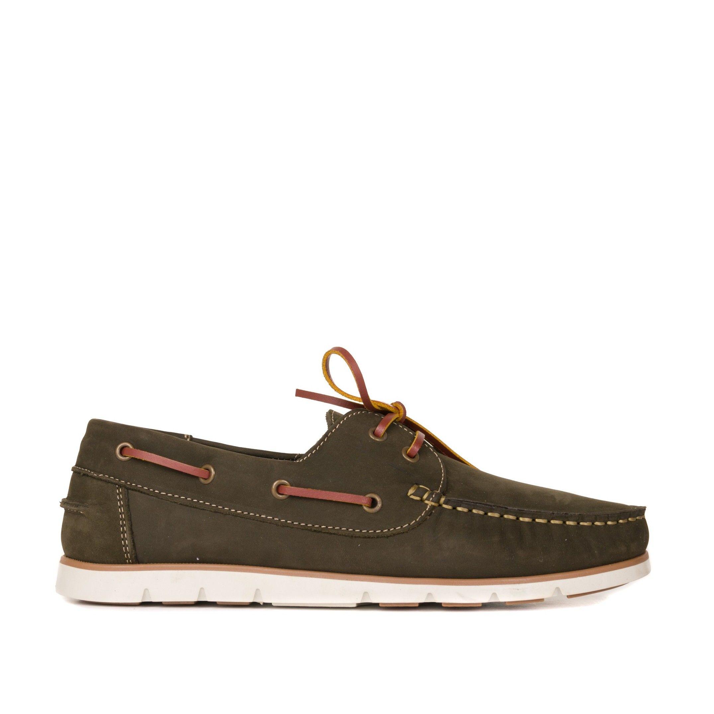 Men's Leather Boat Shoe in Khaki