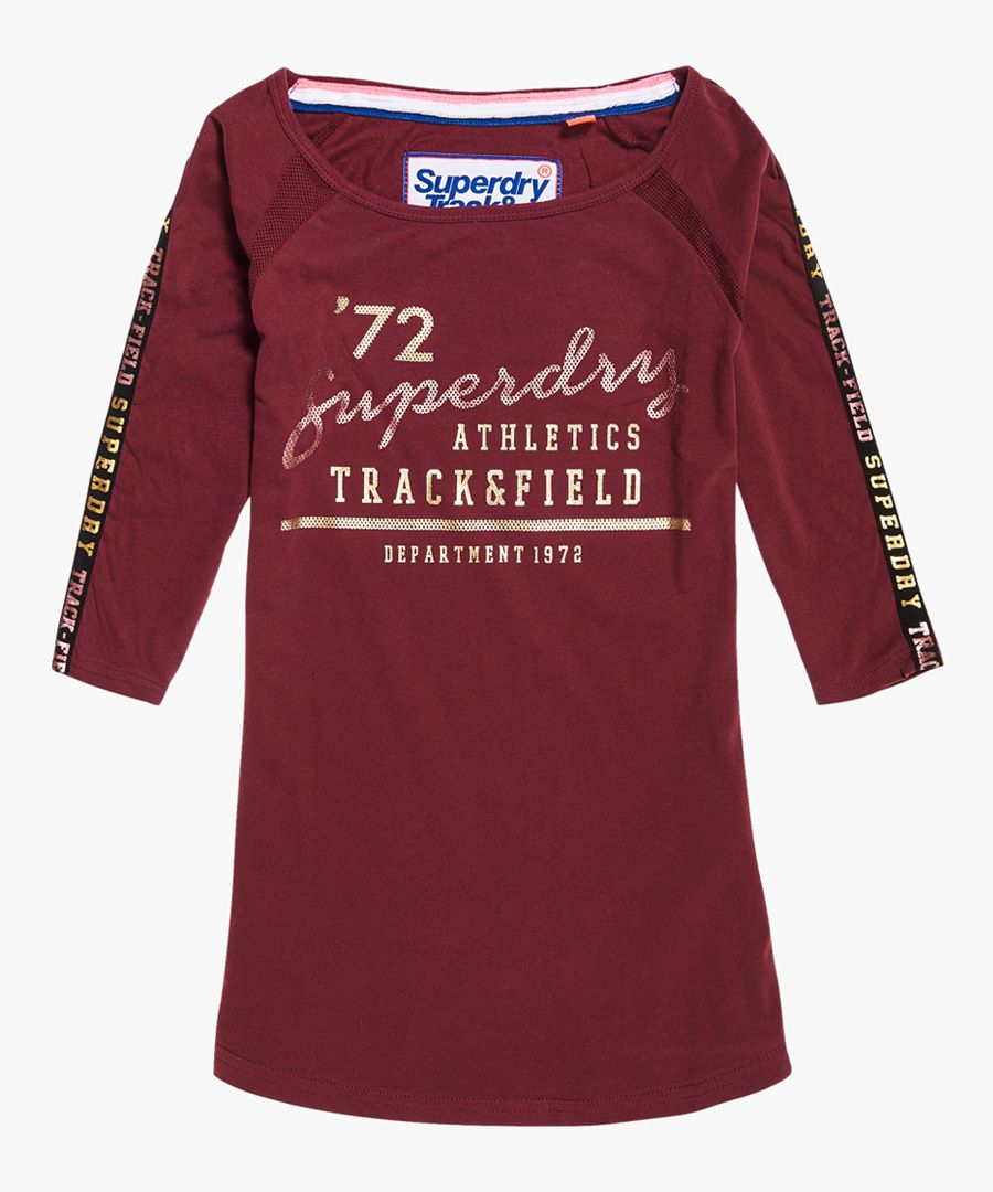 Track and Field burgundy cotton baseball top