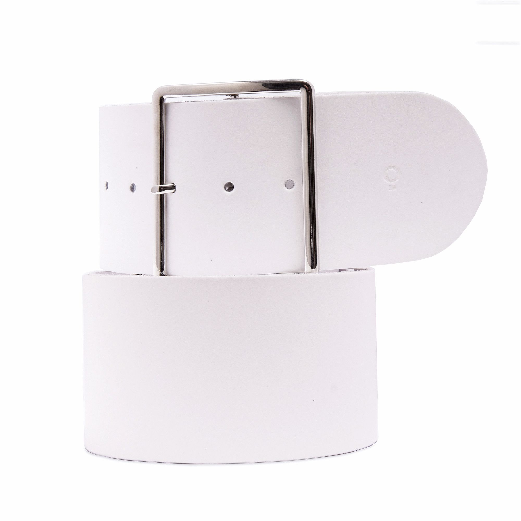 Womens White Leather Belt