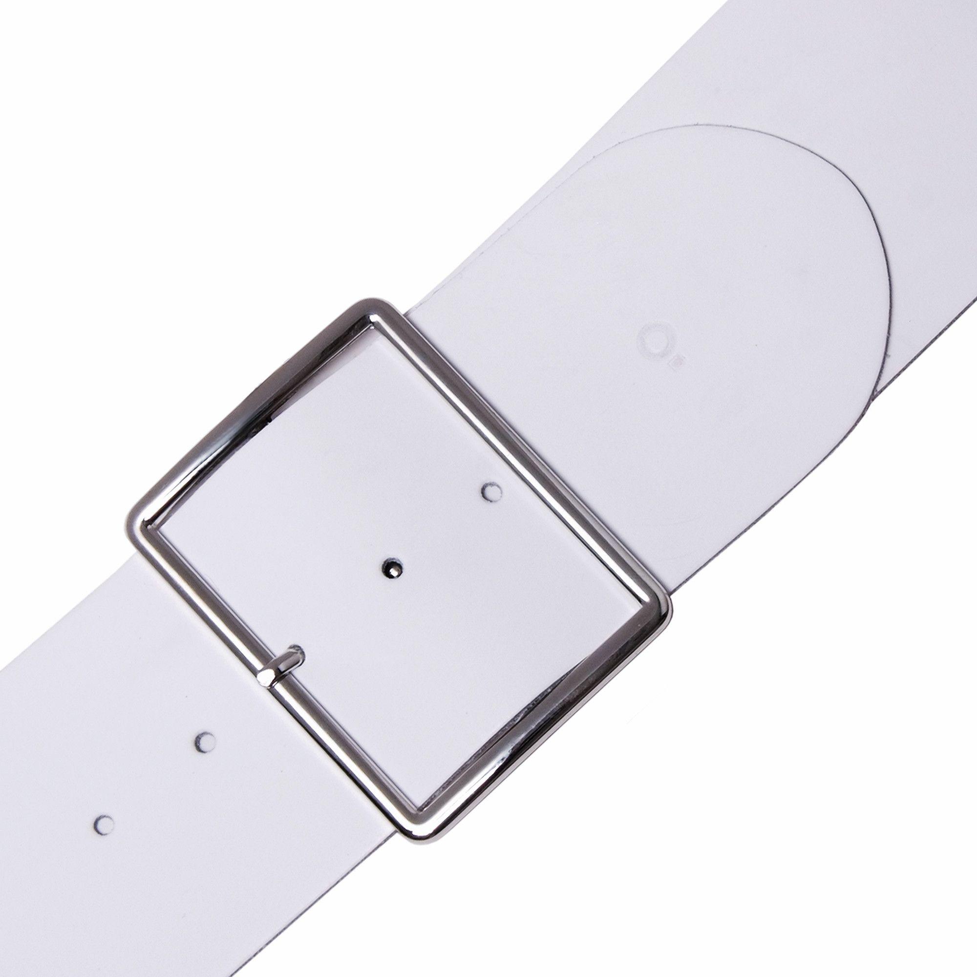 Womens White Leather Belt