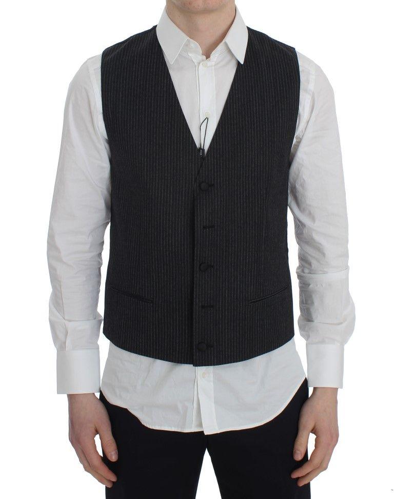 Dolce & Gabbana Gray Striped Formal Vest