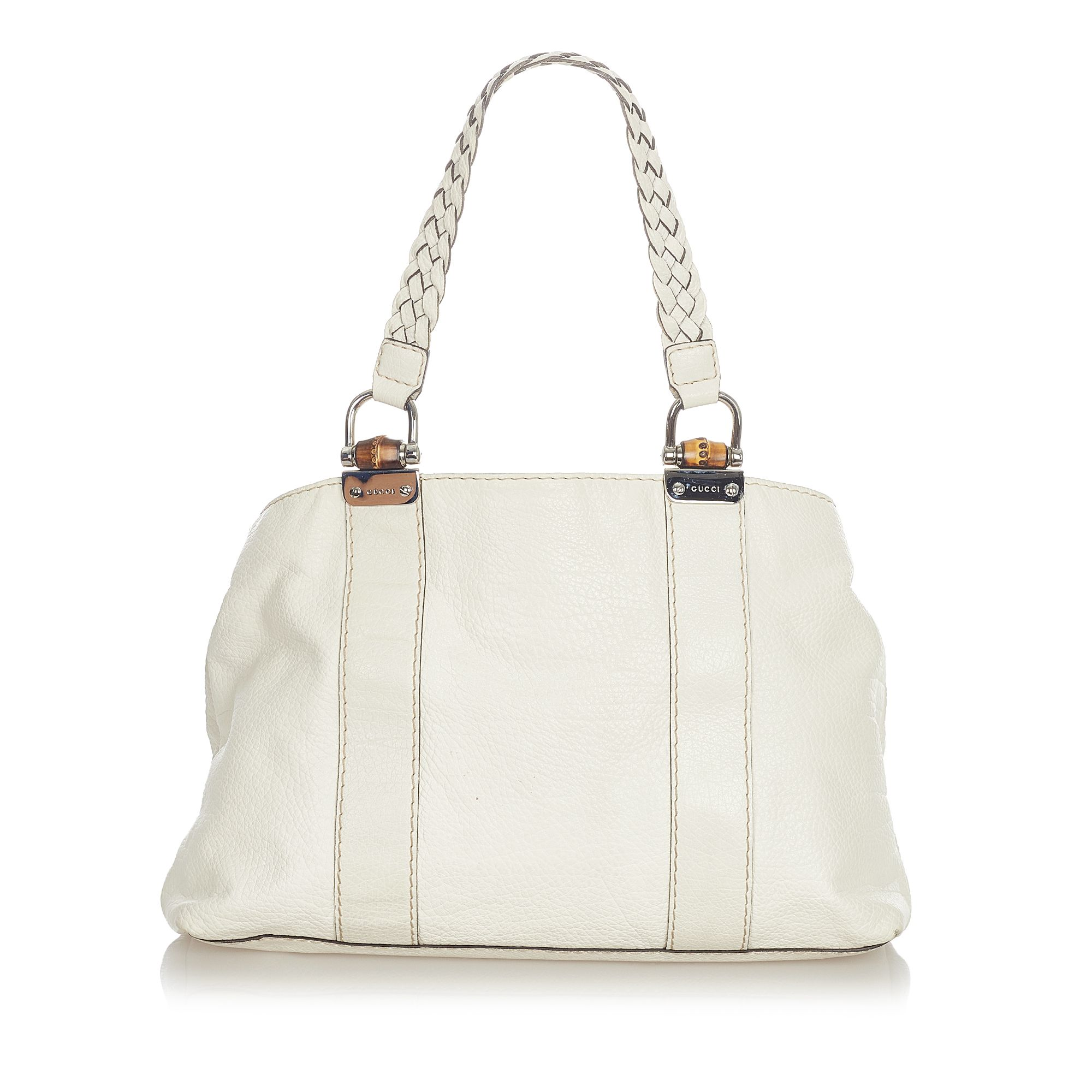 Vintage Gucci Bamboo Bar Leather Tote Bag White