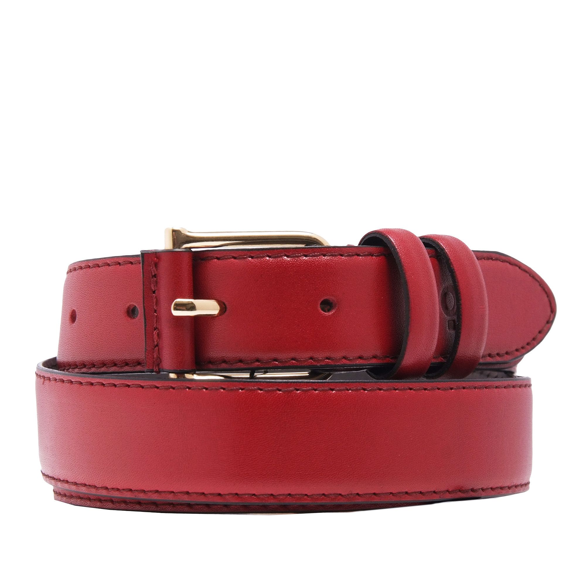 Womens Burgundy Leather Belt