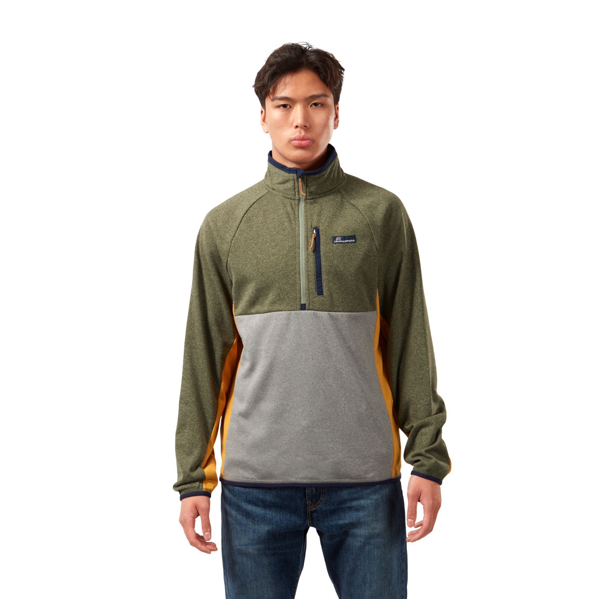 Craghoppers Mens Waymoth Marl Fleece Top (Parka Green/Cloud Grey)