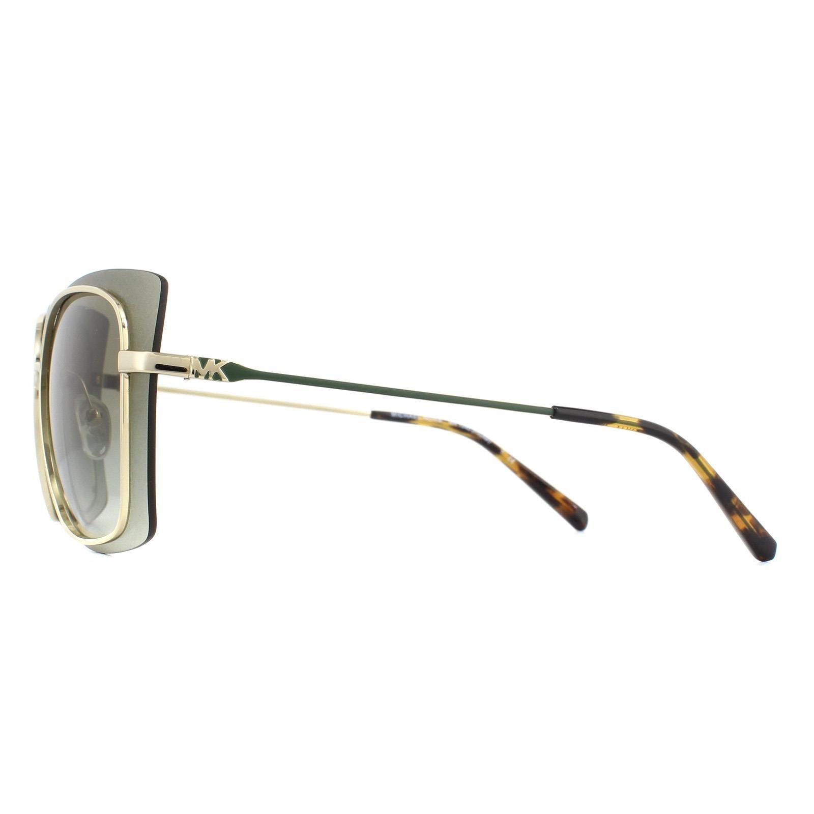 Michael Kors Sunglasses MK1040 Phuket 10148E Shiny Pale Gold Gray Mirrored Gradient