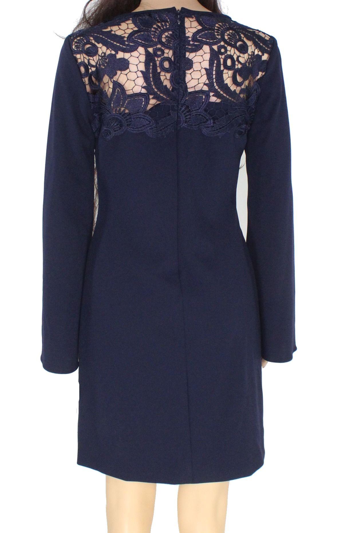 Lauren by Ralph Lauren Women's Shift Dress Navy Blue Size 4 Lace