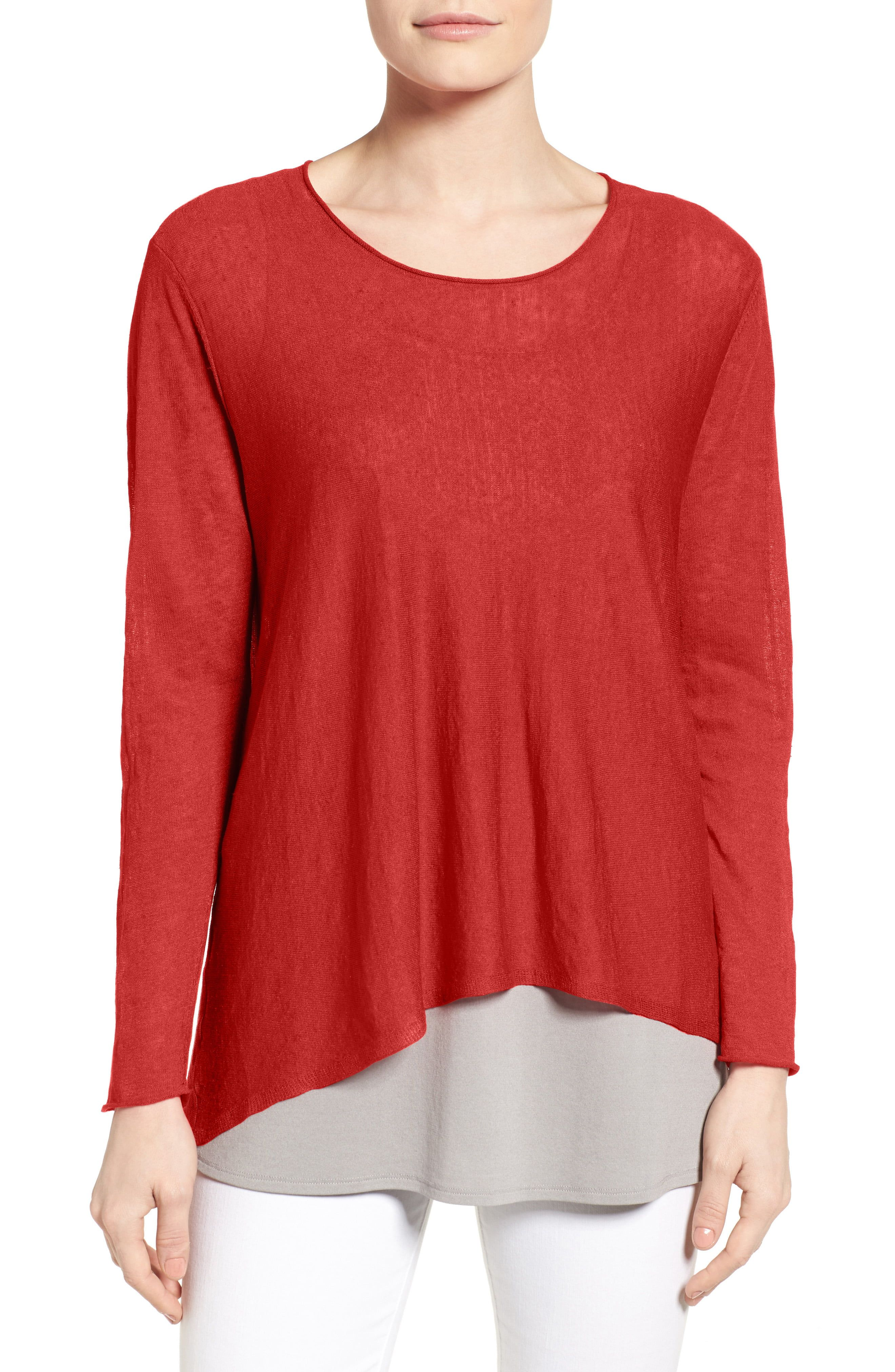 Eileen Fisher Red Womens Size PP Petite Linen Blend Hi-Lo Knit Top