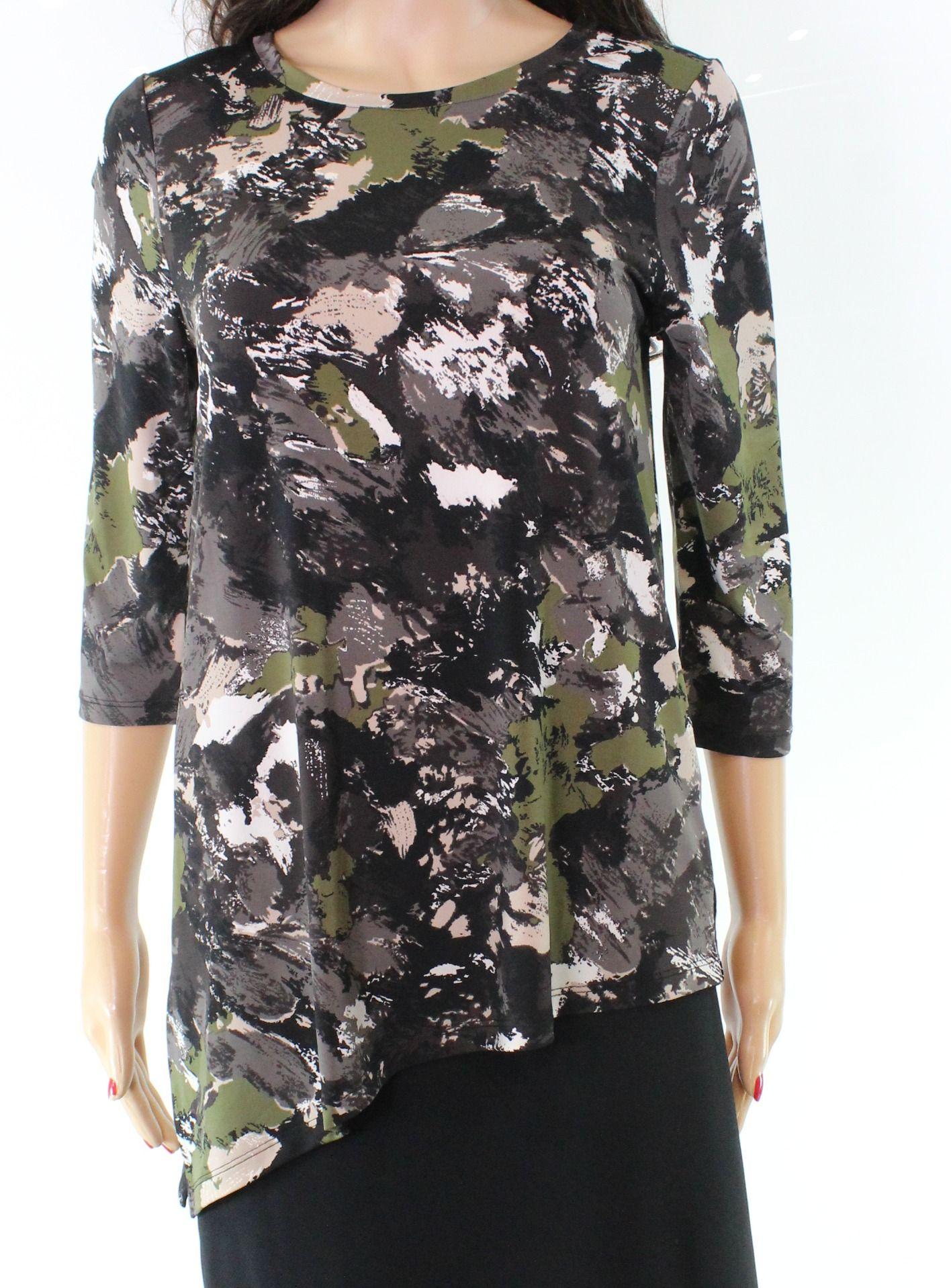 Halston Women's Blouse Black Green Size XS 3/4 Sleeve Scoop Neck
