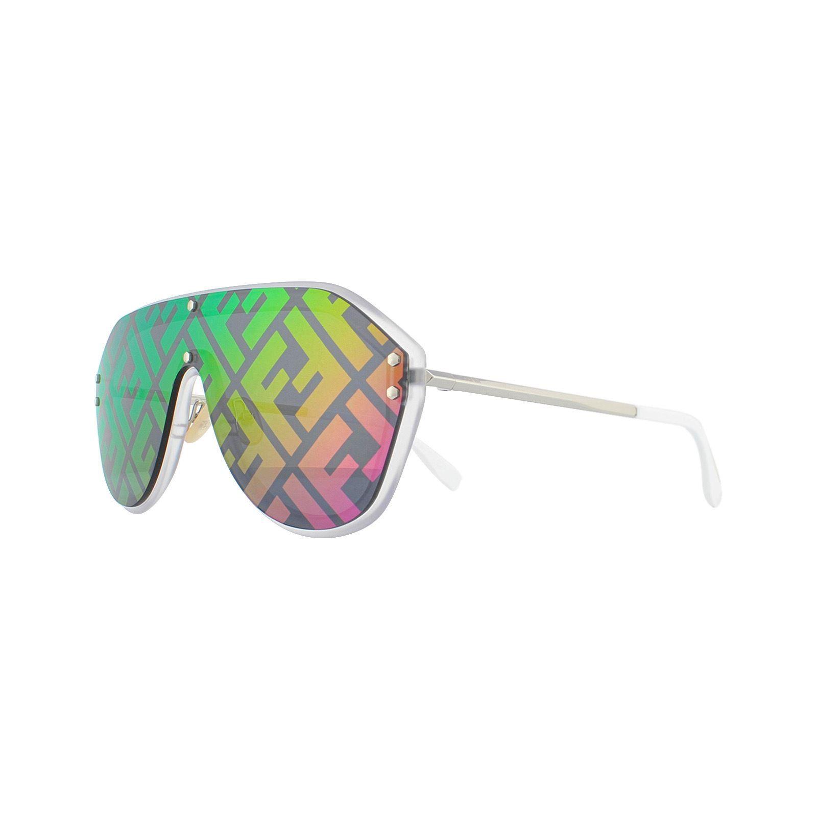 Fendi Sunglasses M0039/G/S F74 R3 Opal White with Silver White Blue with Monogram Logo Fuchsia Mirror