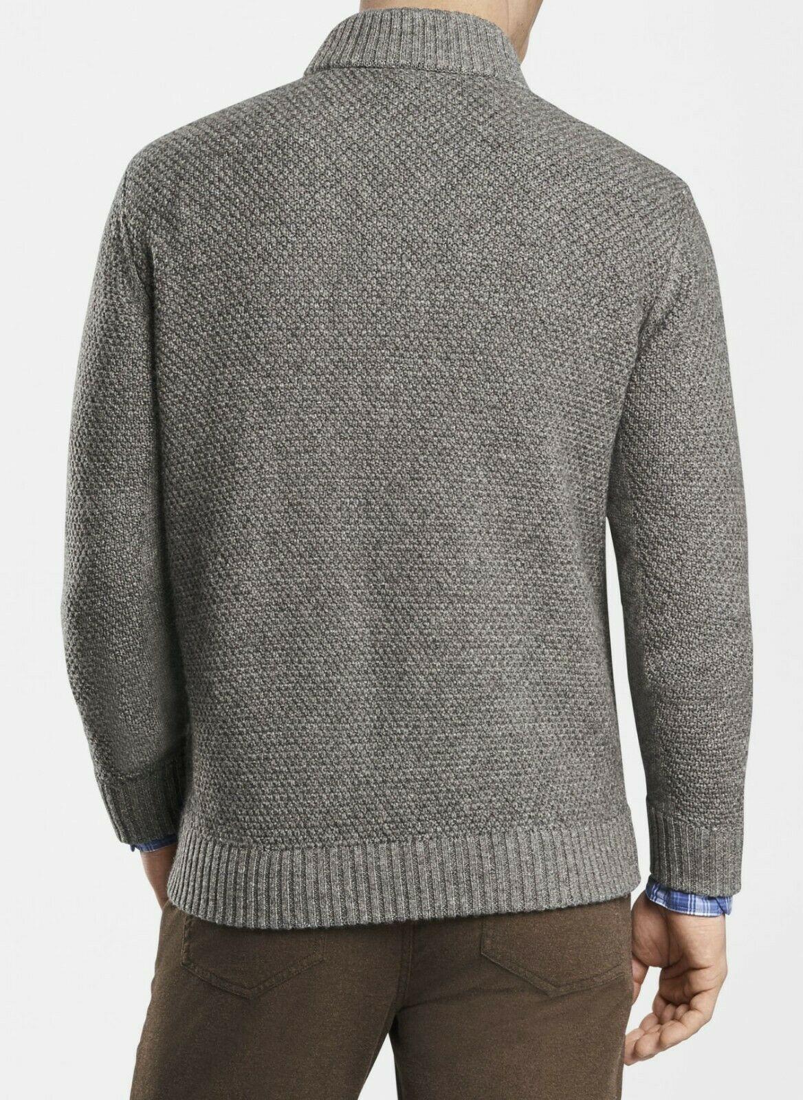 Peter Millar Mens Sweater Gray Size Small S Button Zip Cardigan Wool