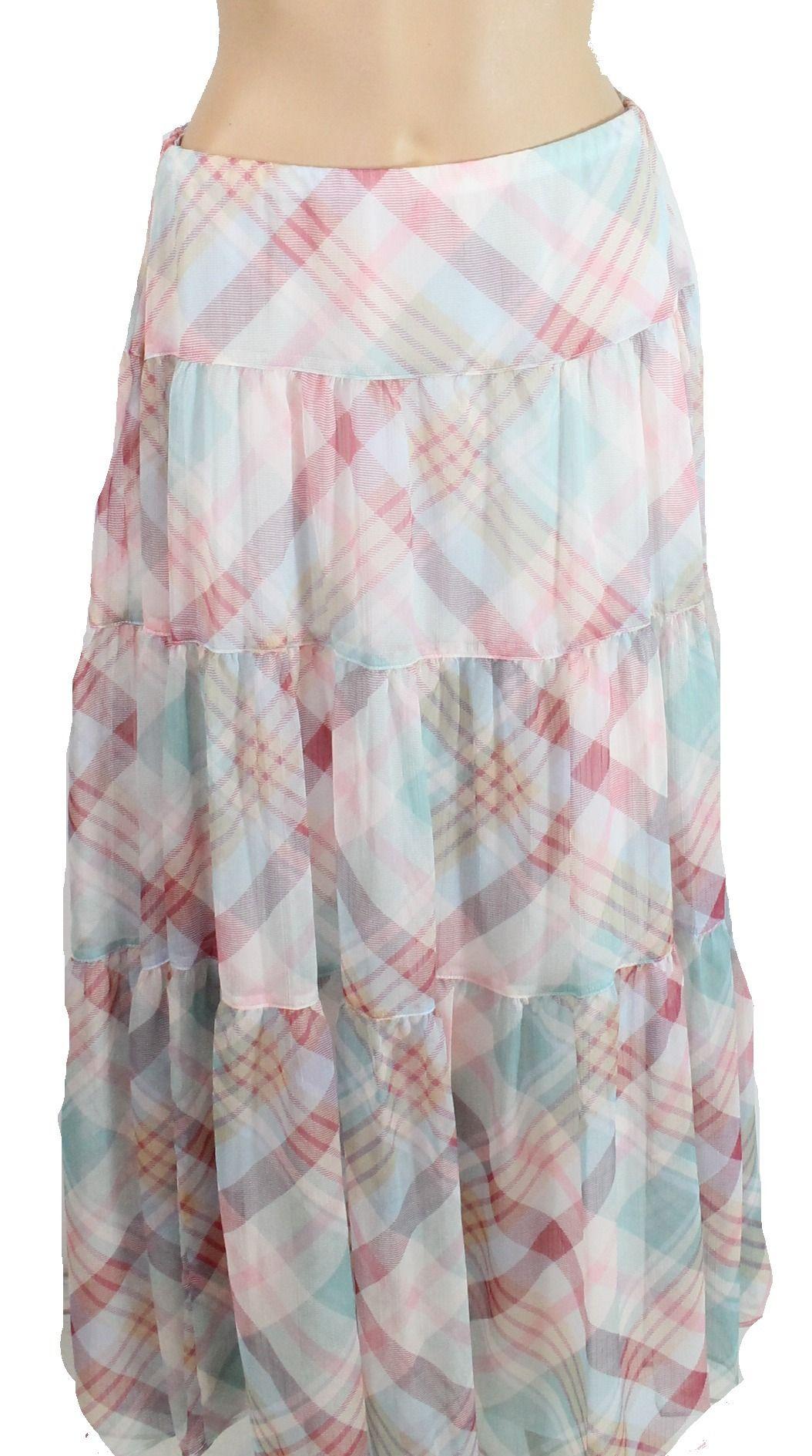 Lauren by Ralph Lauren Womens Pink 6 Pauldina Tiered Plaid Maxi Skirt