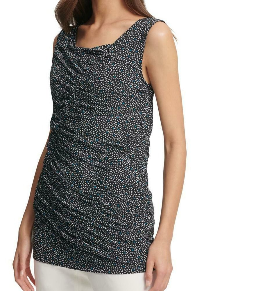DKNY Women's Top Black Size XS Dotted Print Ruched Trim Tank Stretch