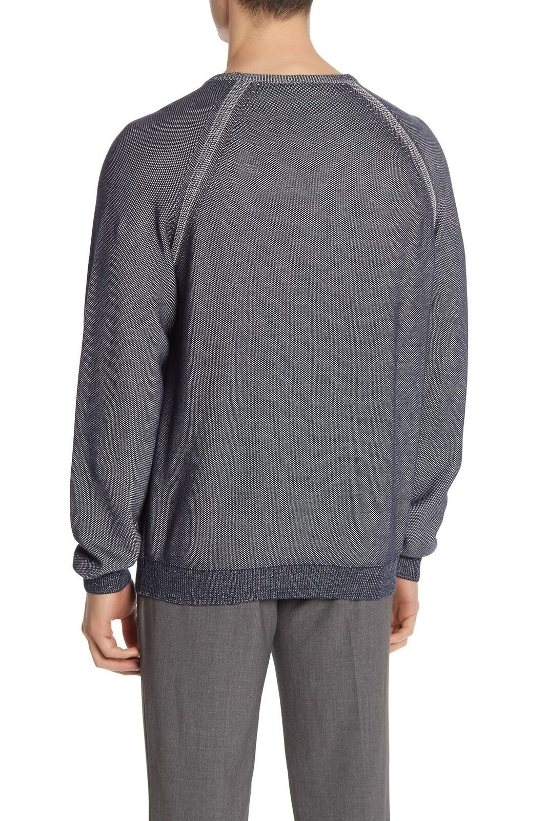Tailor Vintage Mens Sweater Navy Blue Size Large L V-Neck Textured