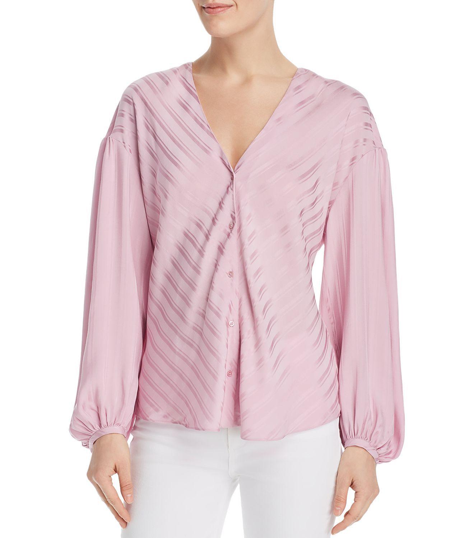 Joie Women Blouse Cotton Candy Pink Size XXS Satin Stripe Button Front