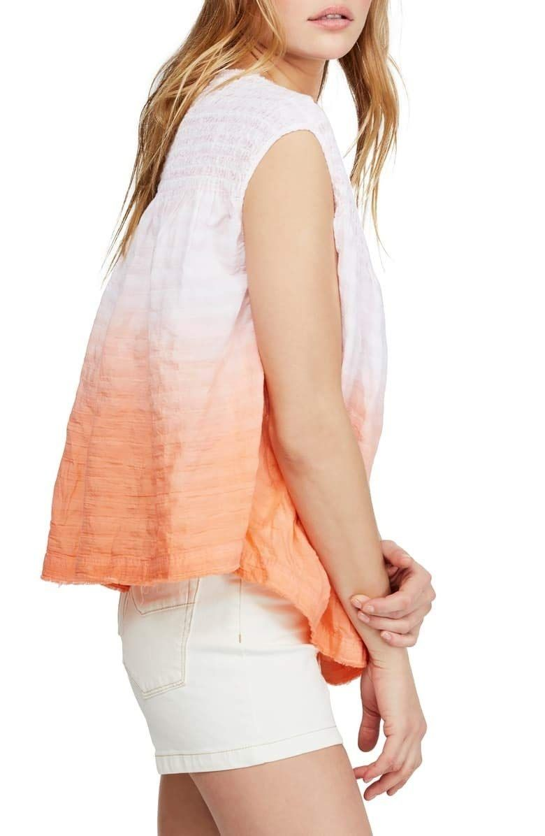 Free People Women Blouse Orange Pink Size Small S Ombre Henley Shirred