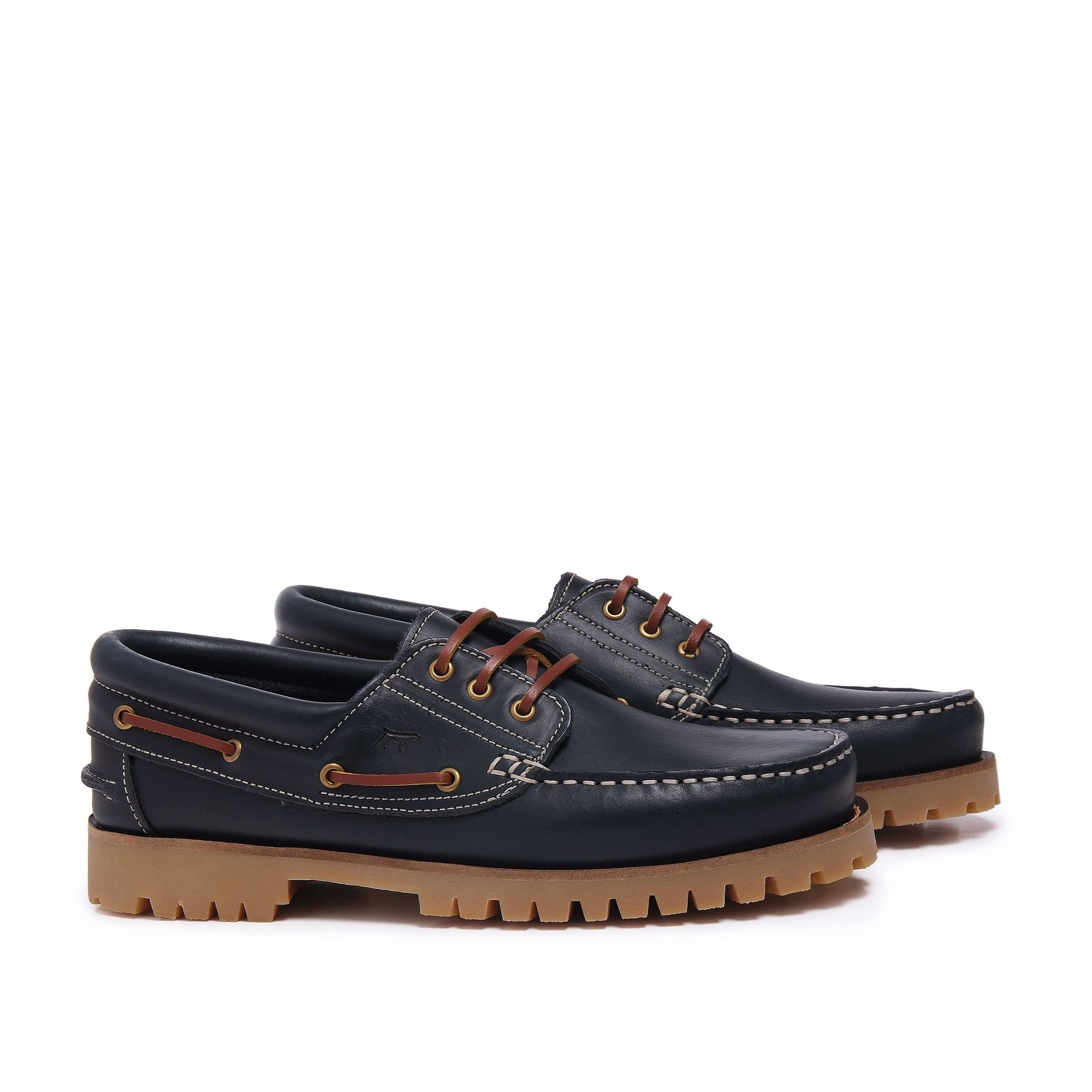 Castellanísimos Leather Navy Blue Moccasins Boat Shoes For Men
