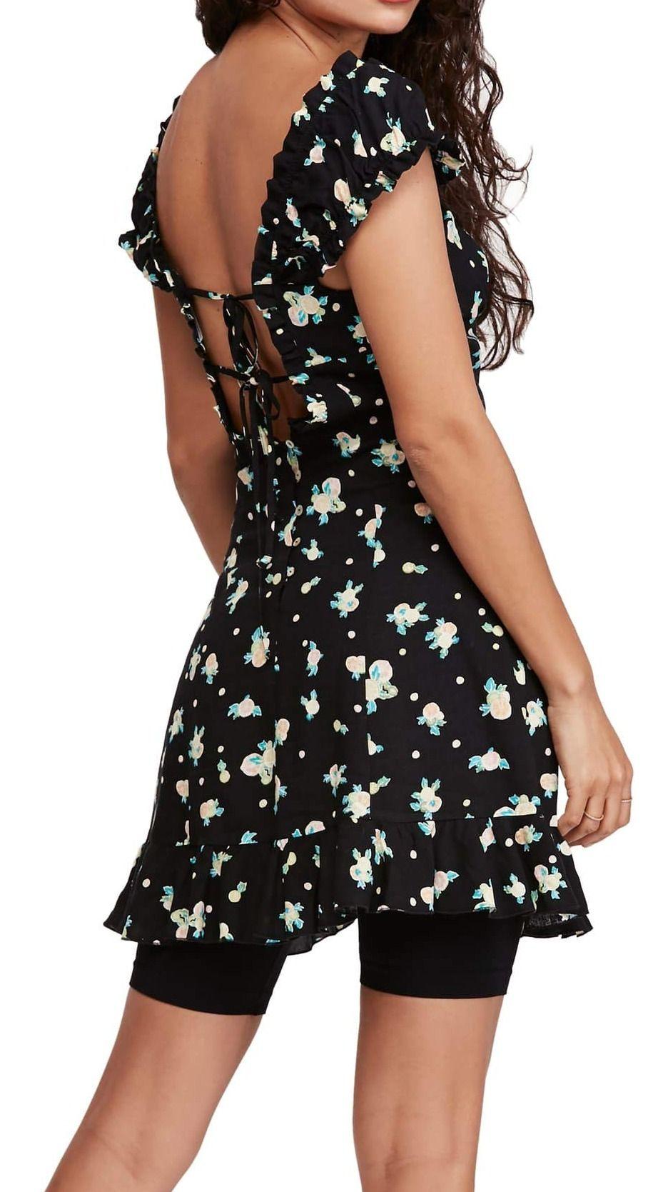 Free People Women's Dress Black Size Medium M A-Line Fruit Print Mini