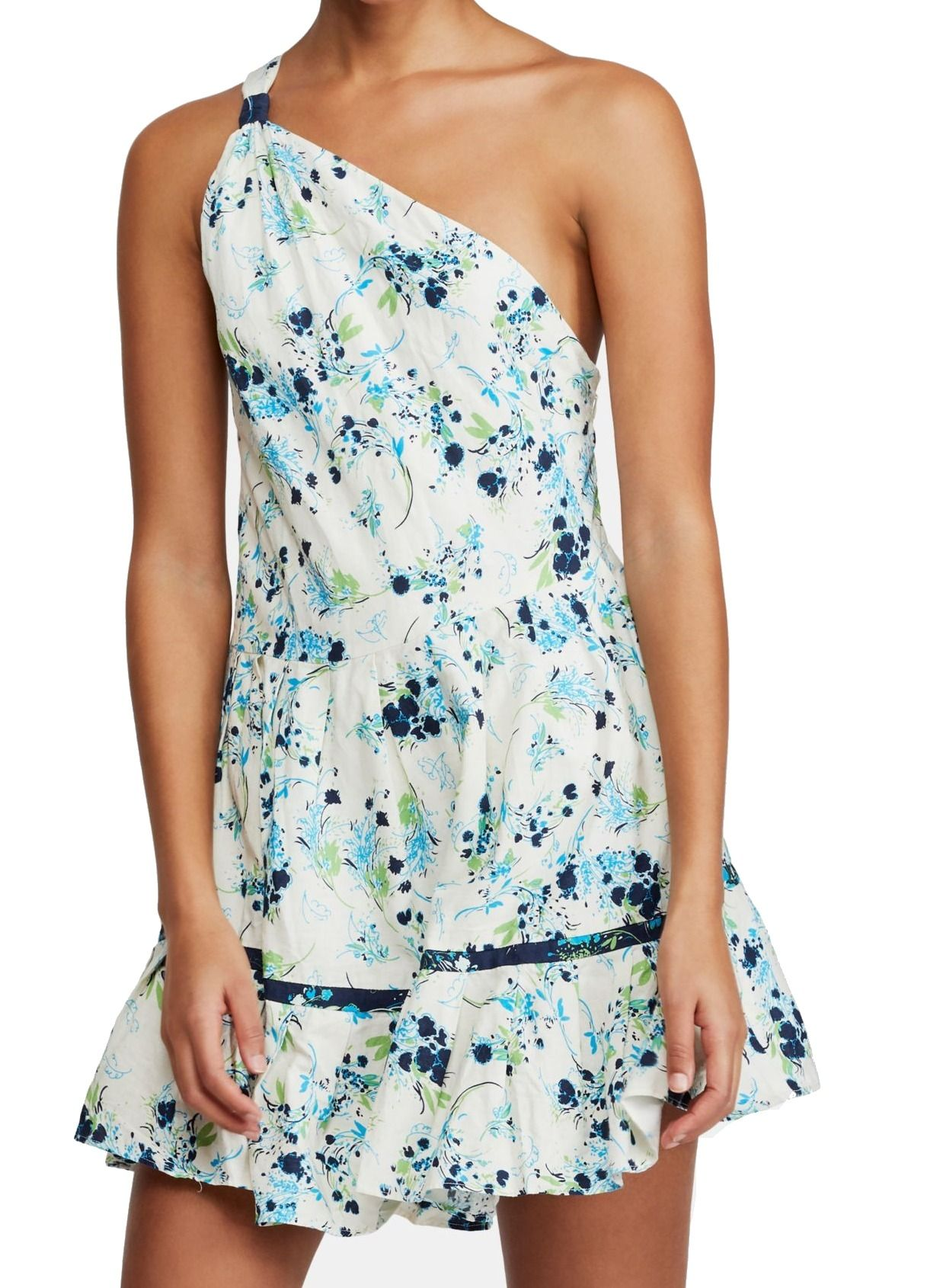 Free People Womens Dress White Size Small S A-Line Floral One-Shoulder