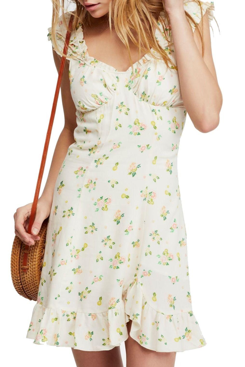Free People Women's Dress Ivory Size Large L Citrus Print Flounce Hem