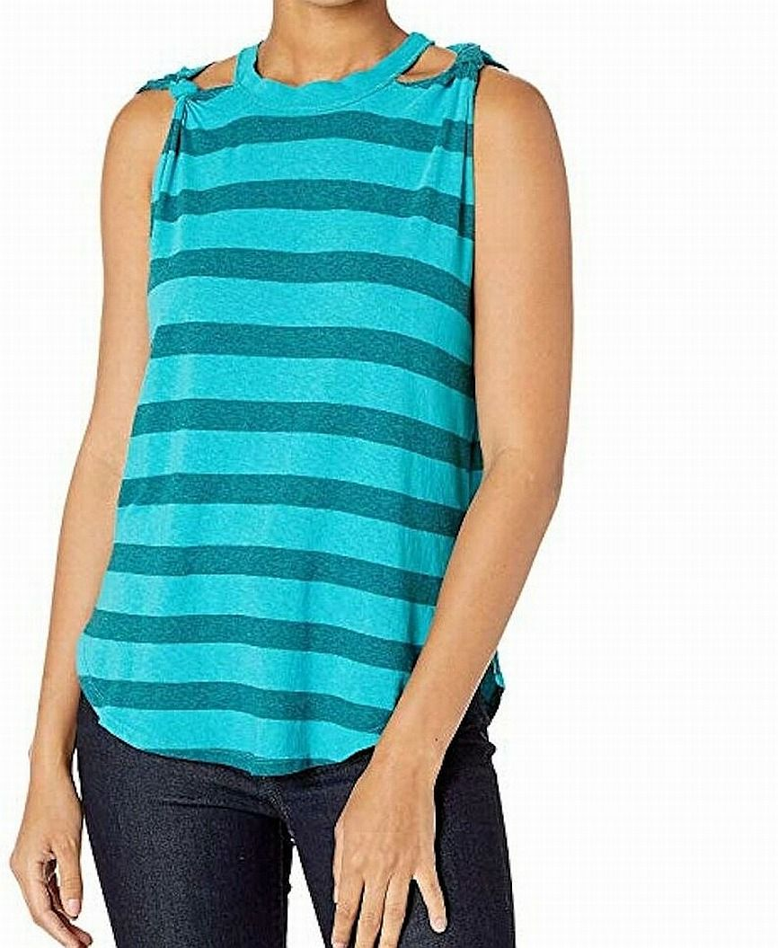 Free People Women's Top Teal Blue Size Small S Striped Tank Knit