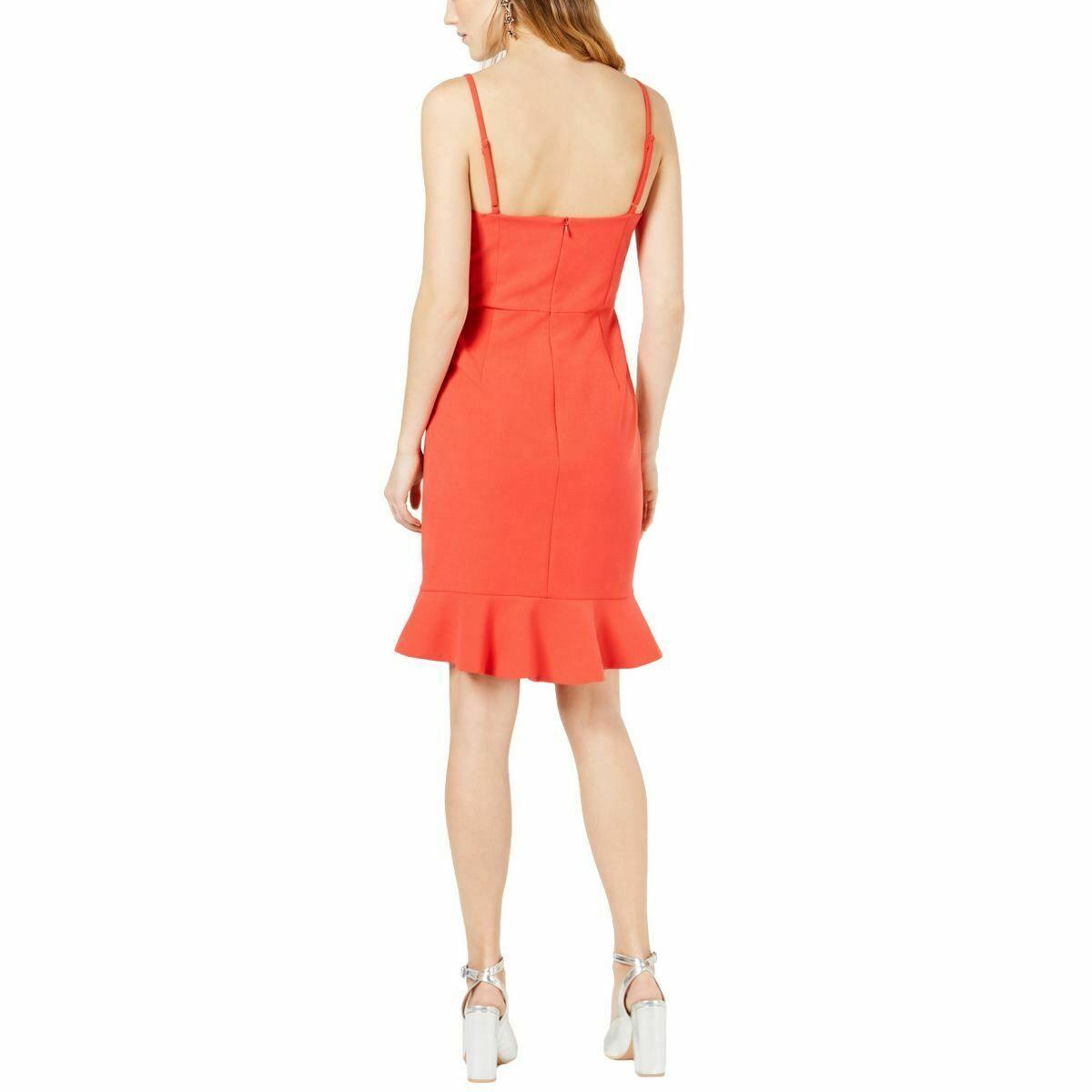 French Connection Women's Dress Red Size 2 Ruffle Flounce Sheath