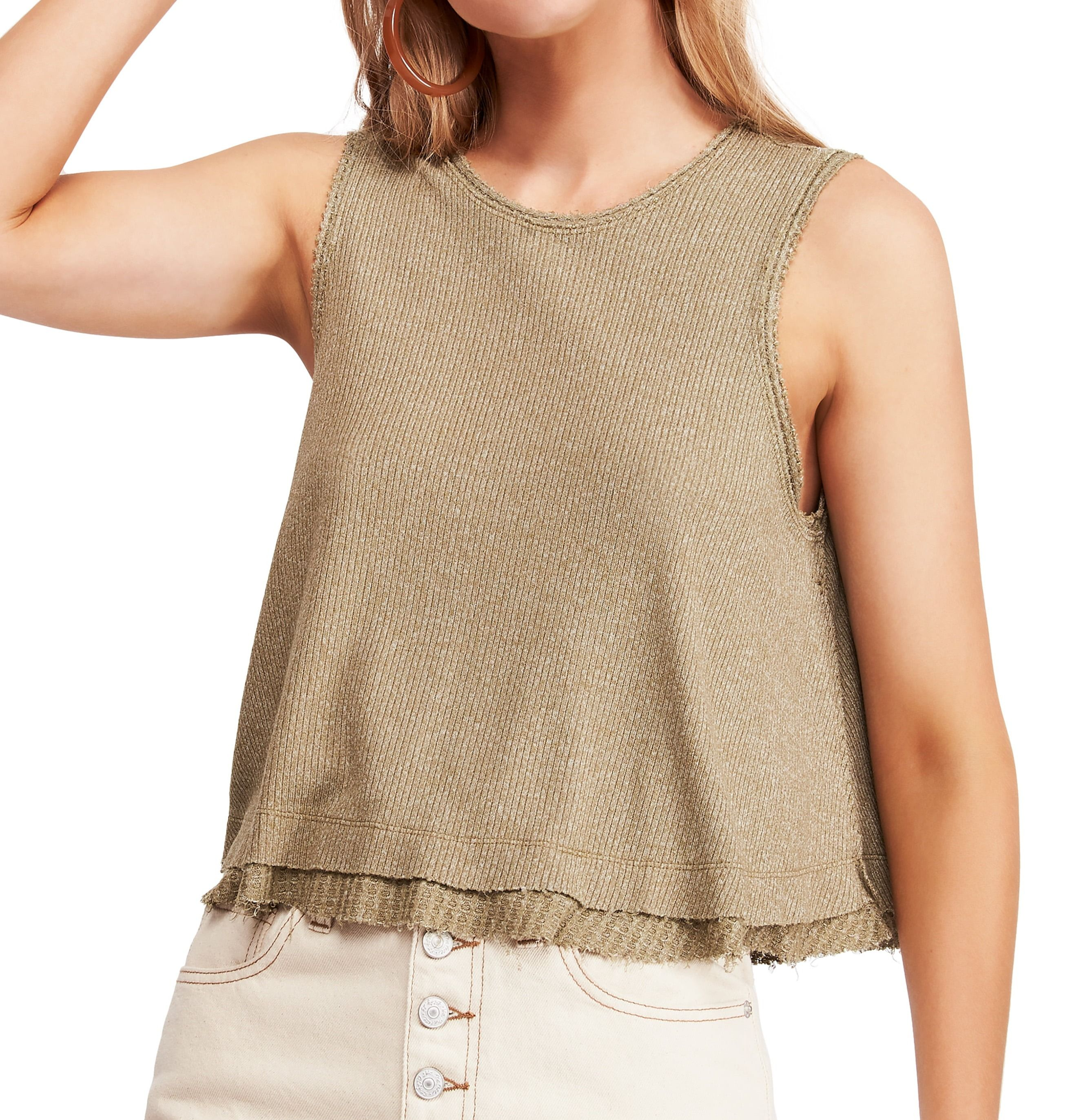 Free People Women's Top Olive Green Size Large L Knit Tank Layered Look