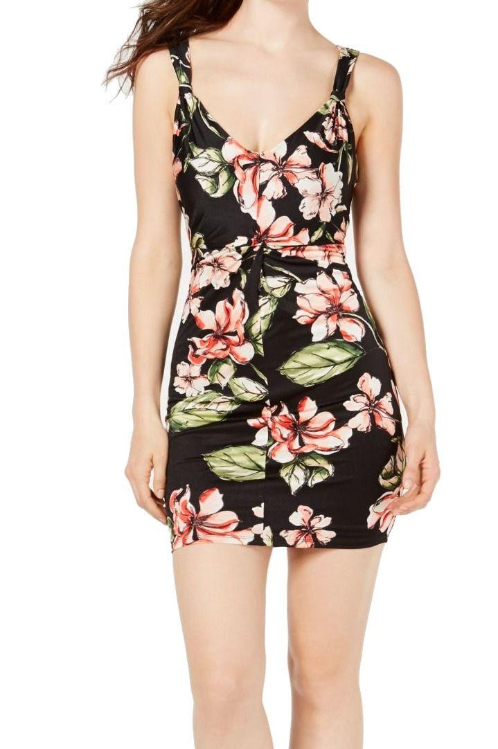 Guess Women's Dress Black Size Small S Sheath V Neck Satin Floral