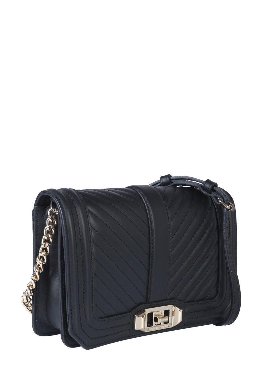 REBECCA MINKOFF WOMEN'S SS19GLH030003 BLACK LEATHER SHOULDER BAG