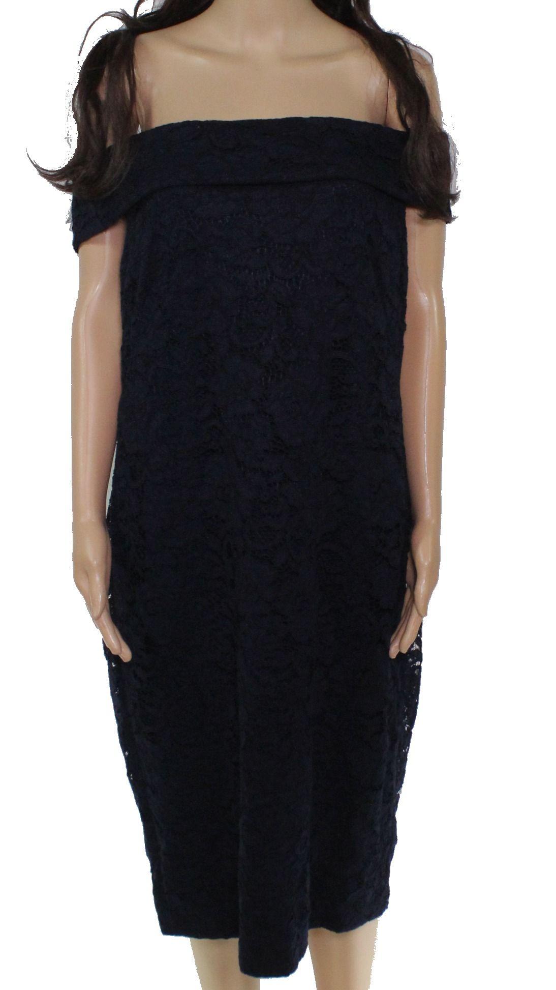 Lauren by Ralph Lauren Women's Dress Blue Size 14 Lace Off Shoulder