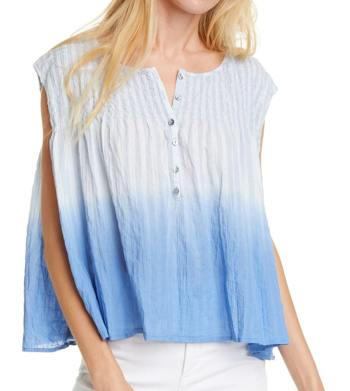 Free People Women's Blouse Blue Size Small S Smocked Henley Ombre