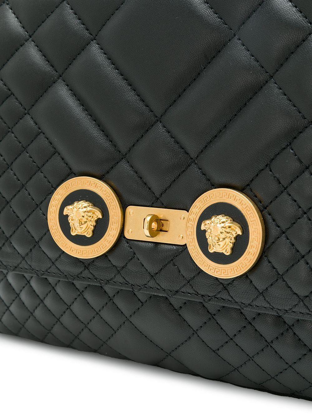 VERSACE WOMEN'S DBFG477DNATR2K41OT BLACK LEATHER SHOULDER BAG