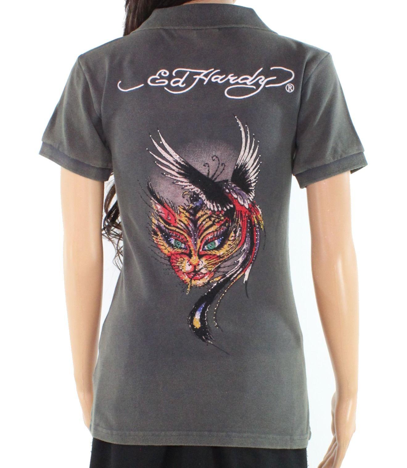 Ed Hardy Women's Shirt Gray Size XS Polo Yin-Yang Fire Cat Printed