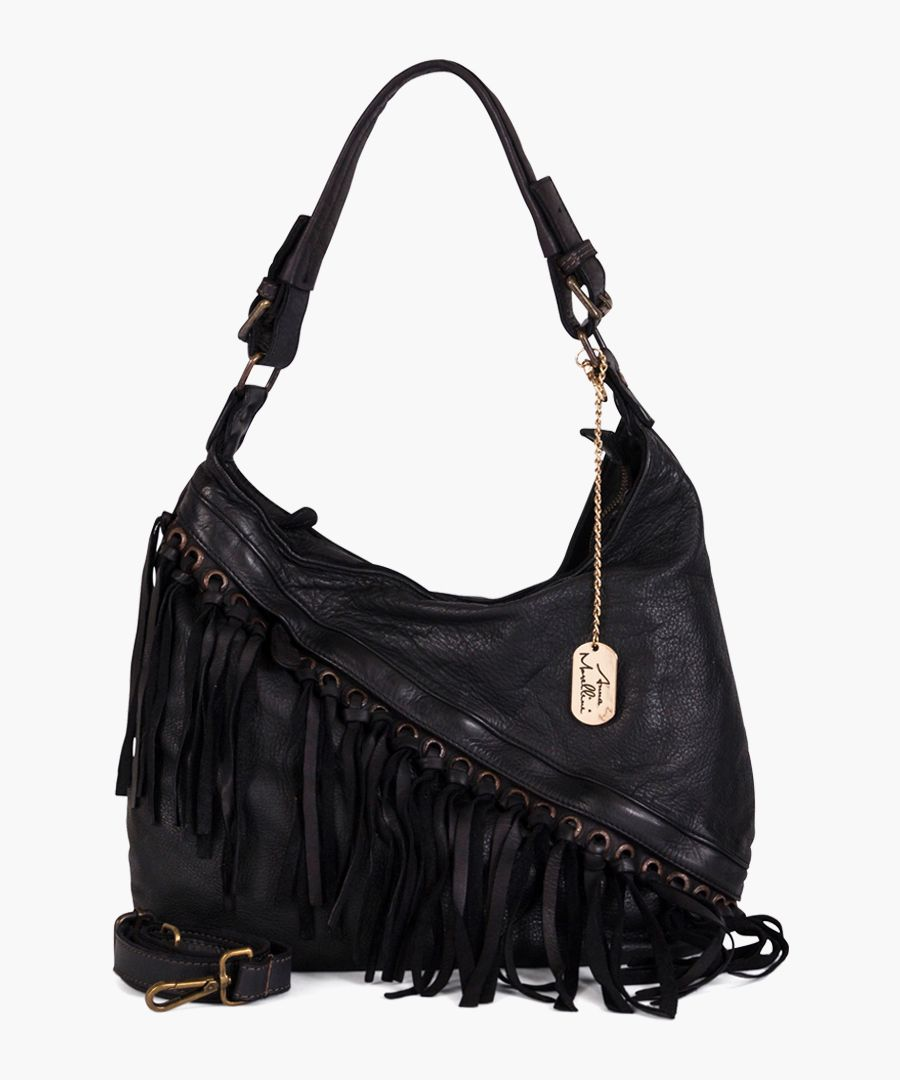 Giuseppina black leather shoulder bag