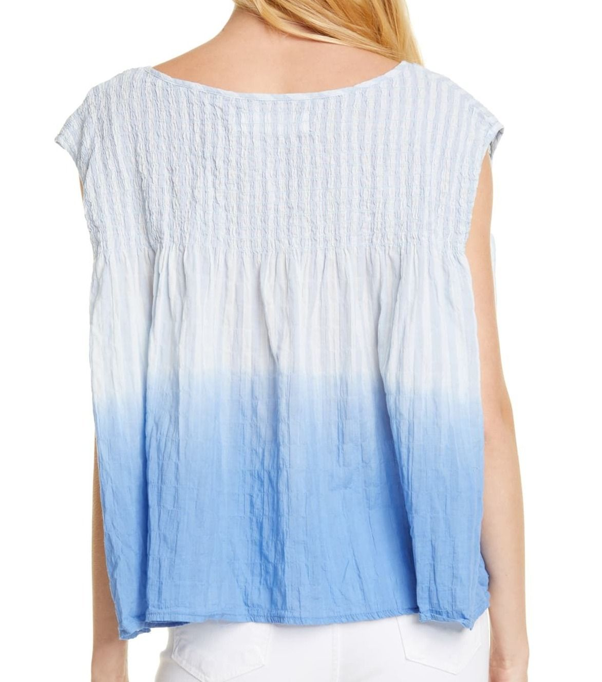 Free People Women's Boxy Blouse Blue Size XS Henley Shirred Ombre